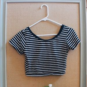 Striped Crop Top W/Bow Accent